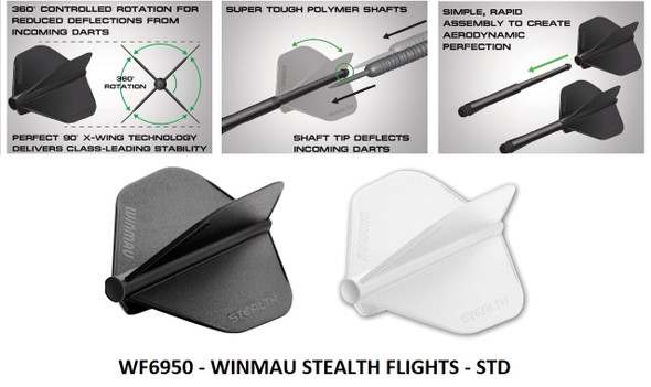 Winmau Stealth White Tear Drop Dart Flights