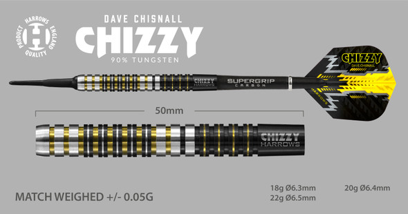 Harrows CHIZZY - Dave Chisnall Soft Tip Darts 18g