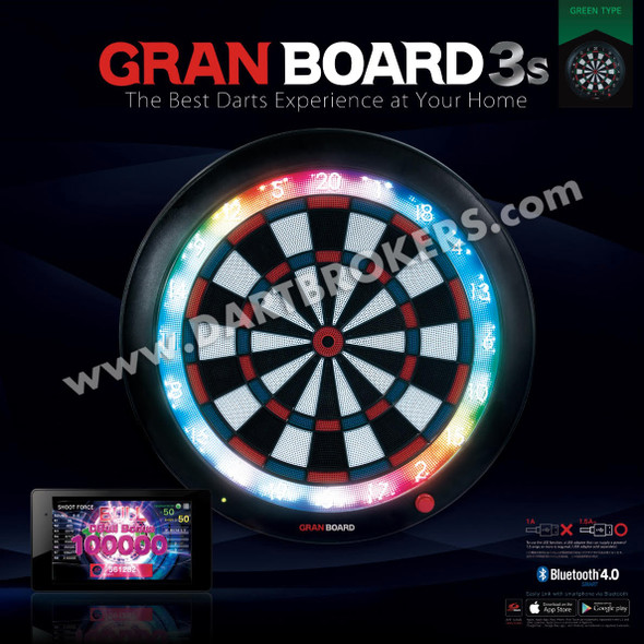 GRAN BOARD 3s Bluetooth Electronic Dartboard - Green In Stock Now