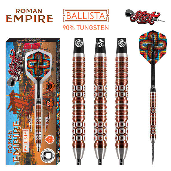 Shot Roman Empire Ballista Steel Tip Dart Set-90% -24gm