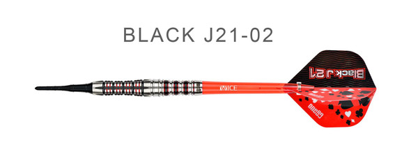 ONE80 Black J21 - BJ21-02 - 90% Tungsten Soft Tip Darts 19g