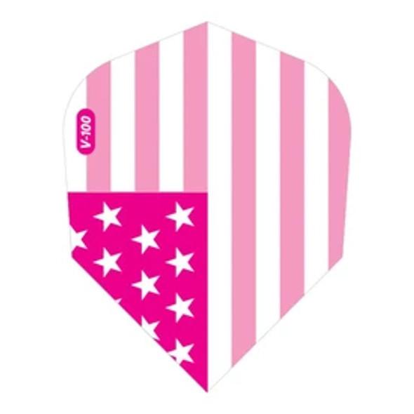 V-100 Dart Flights Standard American Flag Pink Metallic Traditional