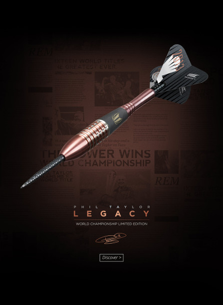 Target Phil Taylor Legacy Limited Edition Steel Tip Darts - 26g, 95% Tungsten, Blush Gold PVD Titanium Nitride coating, World Champoinship Limited Edition - 5,000 Sets Worldwide