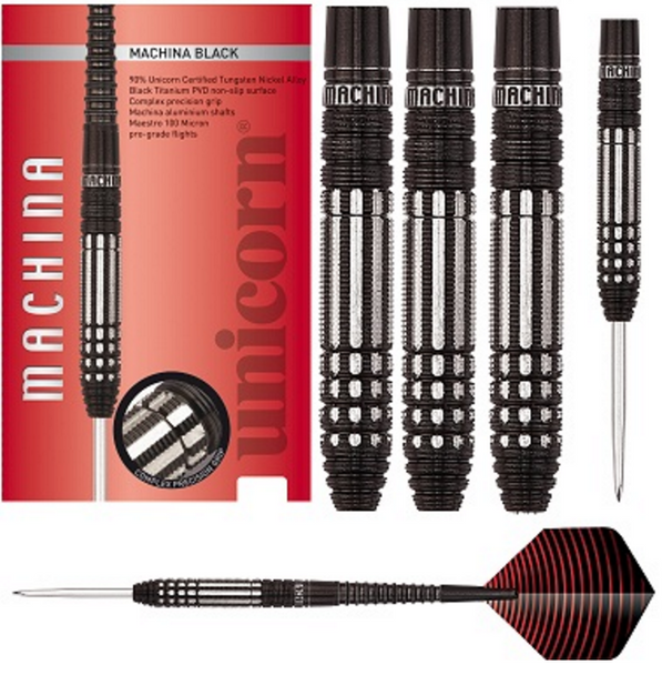 Unicorn Machina Black Steel Tip Darts - 26g