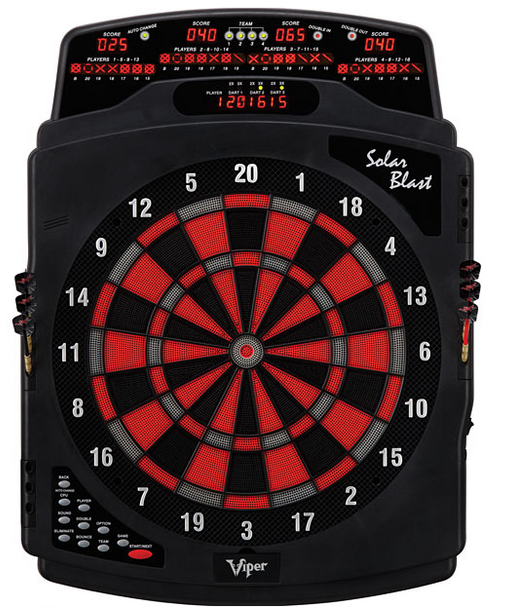 Viper Solar Blast electronic dart board in red, black and gray.