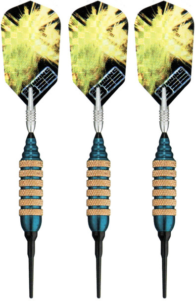 Spinning Bee soft tip darts with blue barrels