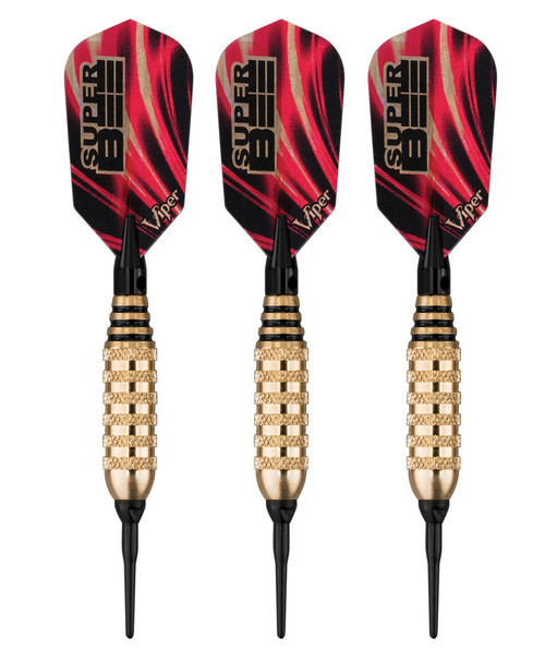 Viper Super Bee soft tip dart with slim flights and gold colored brass barrels