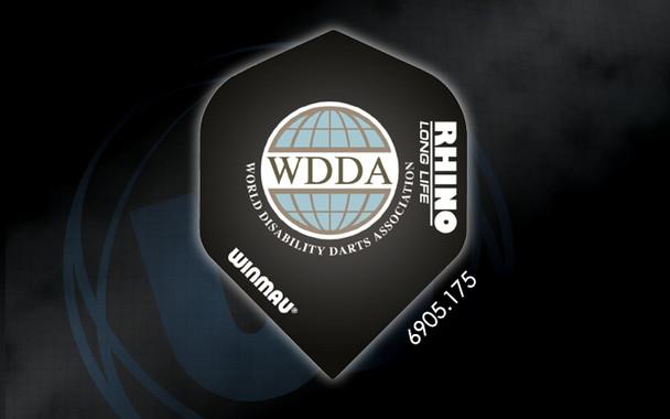 Winmau Rhino Long Life Extra Thick Standard Flights - 6905.175, WDDA, World Disability Darts Association, Black, Globe