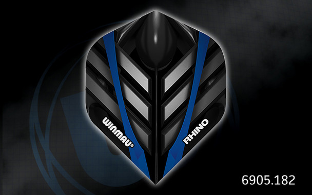 Winmau Rhino Long Life Extra Thick Standard Flights - 6905.182, Black, Blue, Silver, Metal