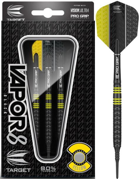 Target Vapor-8 Black Yellow 2ba Soft Tip Darts - 19g