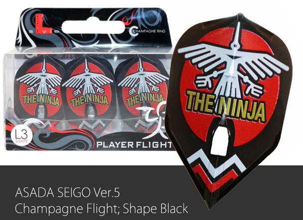 "L-style Seigo Asada ""Ninja"" V.3 Small Standard L3 Pro Champagne Flights - Black"