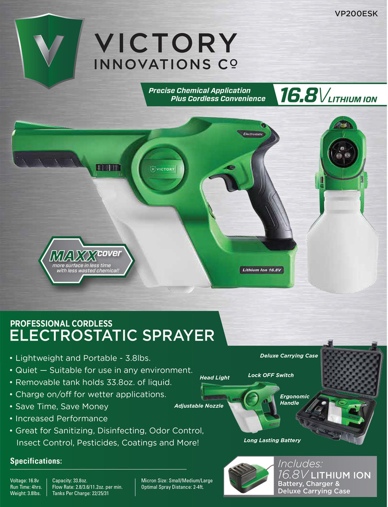 Electrostatic Cordless Sprayer by Victory Innovations w/CASE