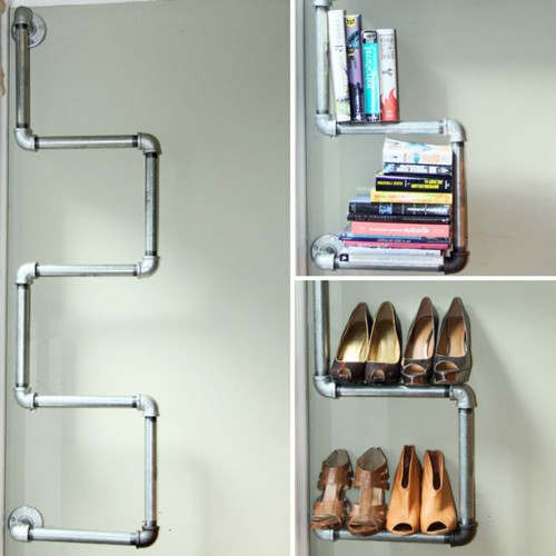 Industrial Pipe Bookshelf & Shoe Rack