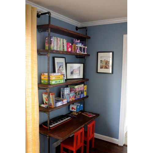 Industrial Pipe Shelves With Desk