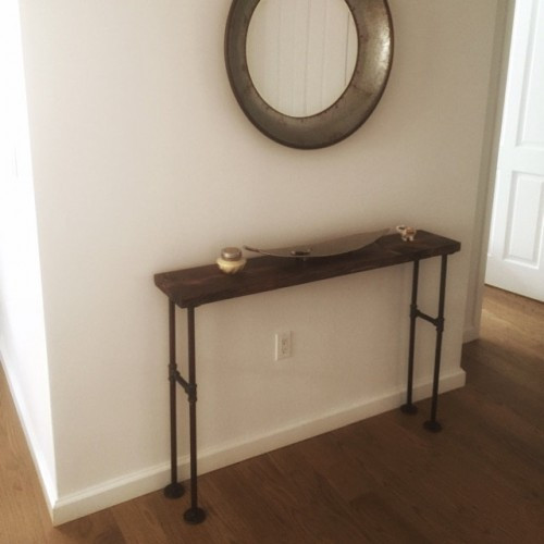 Modern Black Iron Pipe Bench Entryway Table