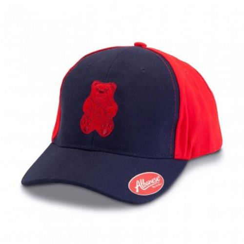 Navy Blue and Red Hat with Red Bear