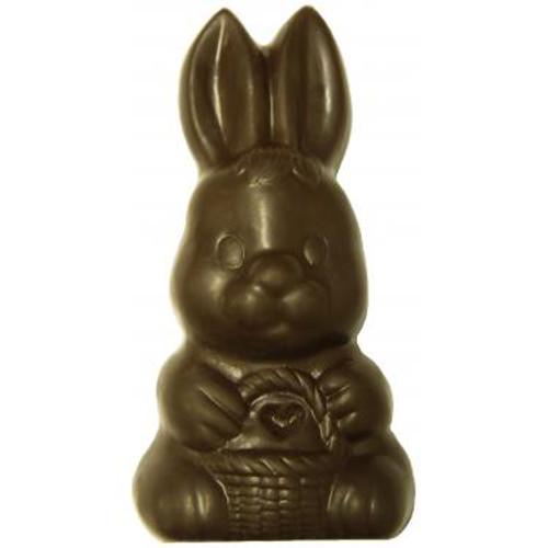 Dark Chocolate Solid  Bunny W/ Basket  - 6 oz.