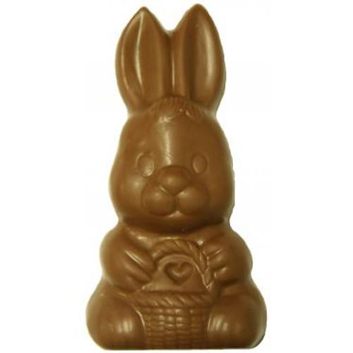 Milk Chocolate Solid  Bunny w/ Basket - 6 oz