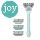 joy shave kit in pink box with razor, refill, and razor stand