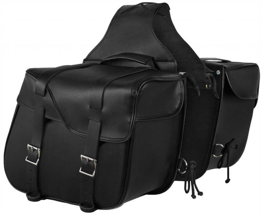 True Element TEBU44003BCL Slanted Motorcycle Leather Saddle Bag with Quick Release Clips