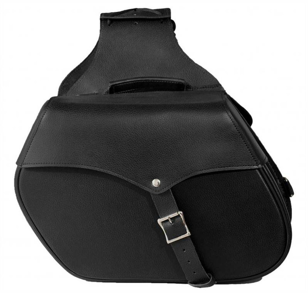 True Element TEBU44006BCL Genuine Leather Motorcycle Saddlebag with Quick Release Clips (Black)