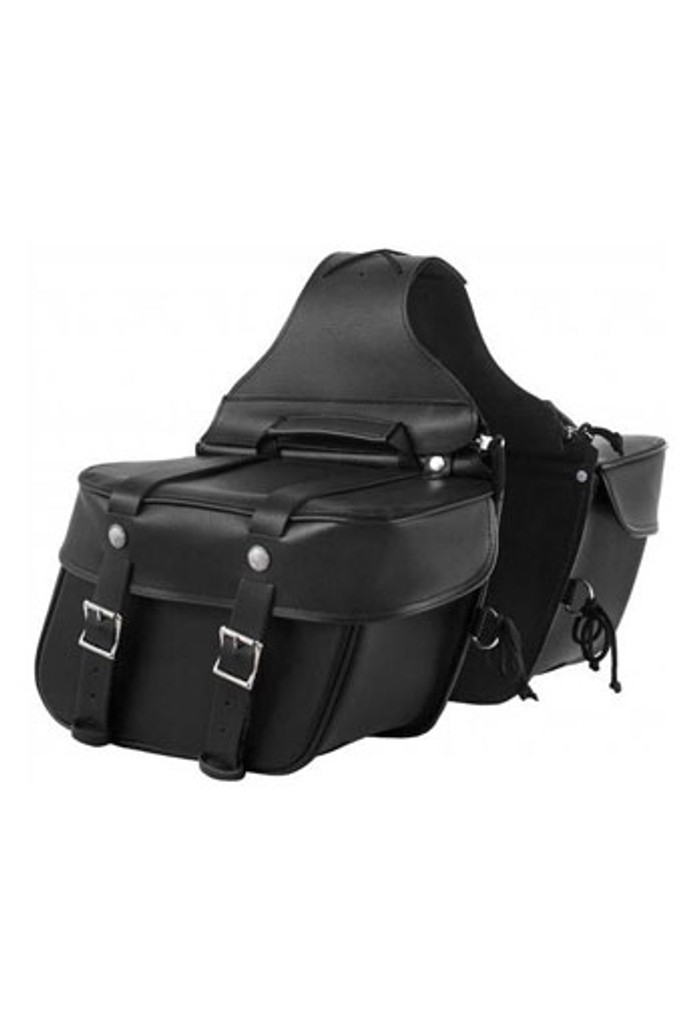 True Element TEBU44007BCL Genuine Leather Motorcycle Saddlebag with Quick Release Clips (Black)