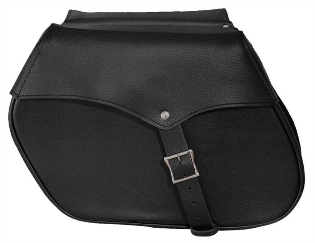 True Element TEBU66002BCL Motorcycle Leather Mountable side Bag with Quick Release Clips