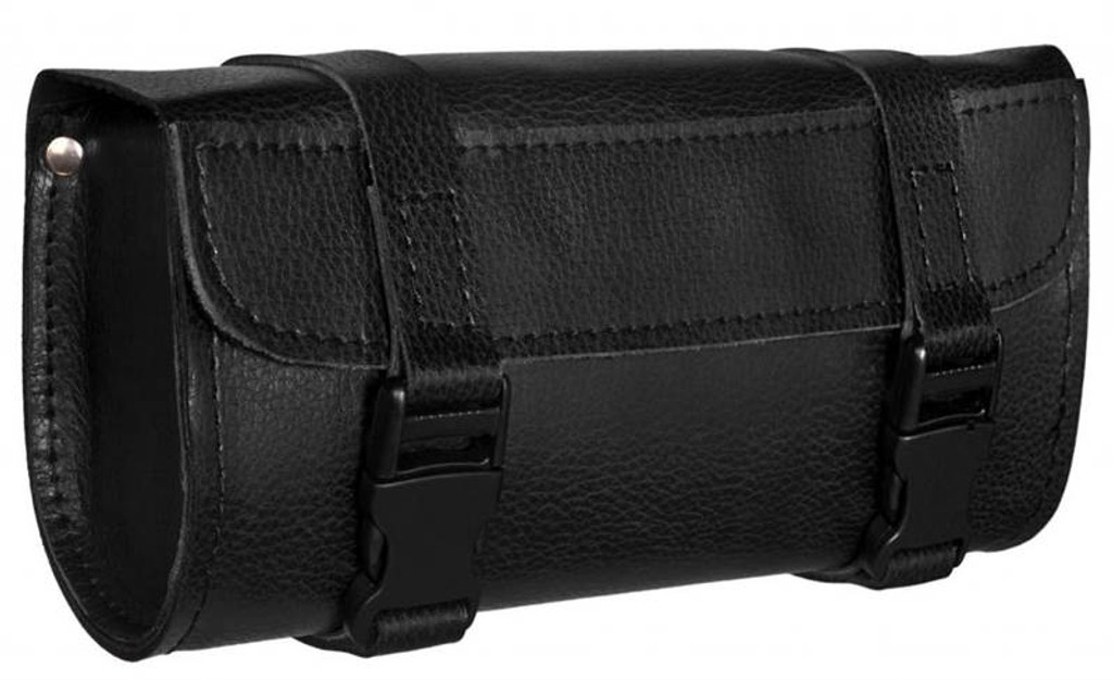 True Element TEBU88003BCL Genuine Leather Motorcycle Tool Bag with Quick Release Clips (Black)