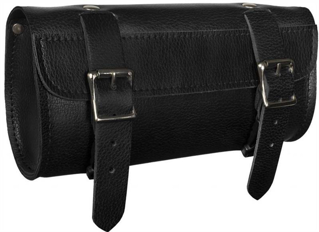 True Element TEBU88004BCL Genuine Leather Motorcycle Tool Bag with Quick Release Clips (Black)