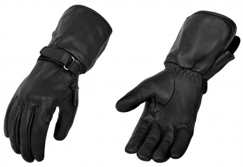 True Element Mens All-Weather Motorcycle Gauntlet Glove (Black, Sizes S-2XL)