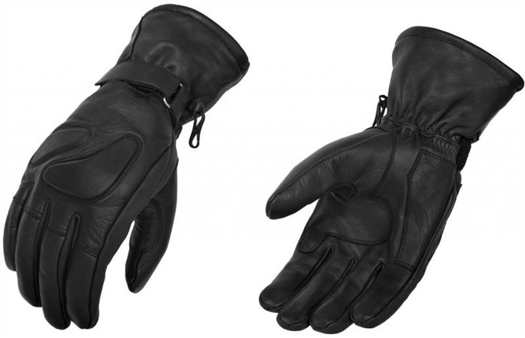 True Element Mens Motorcycle Gauntlet Glove with Knuckle and Palm Gel Protection Pads (Black, Sizes S-2XL)