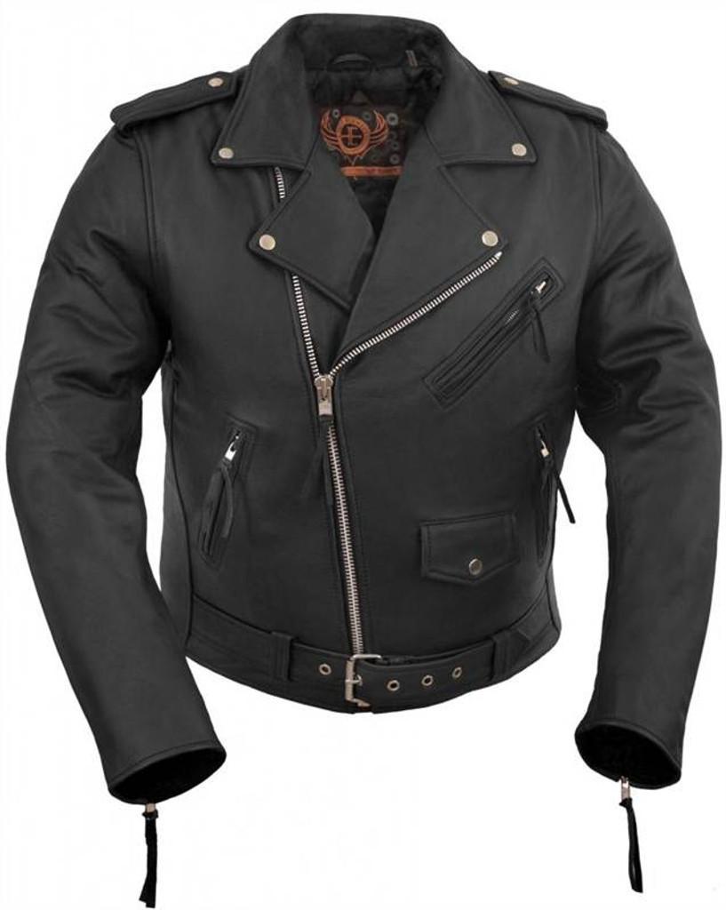 True Element Mens Basic Motorcycle Leather Jacket (Black, Sizes S-5XL)