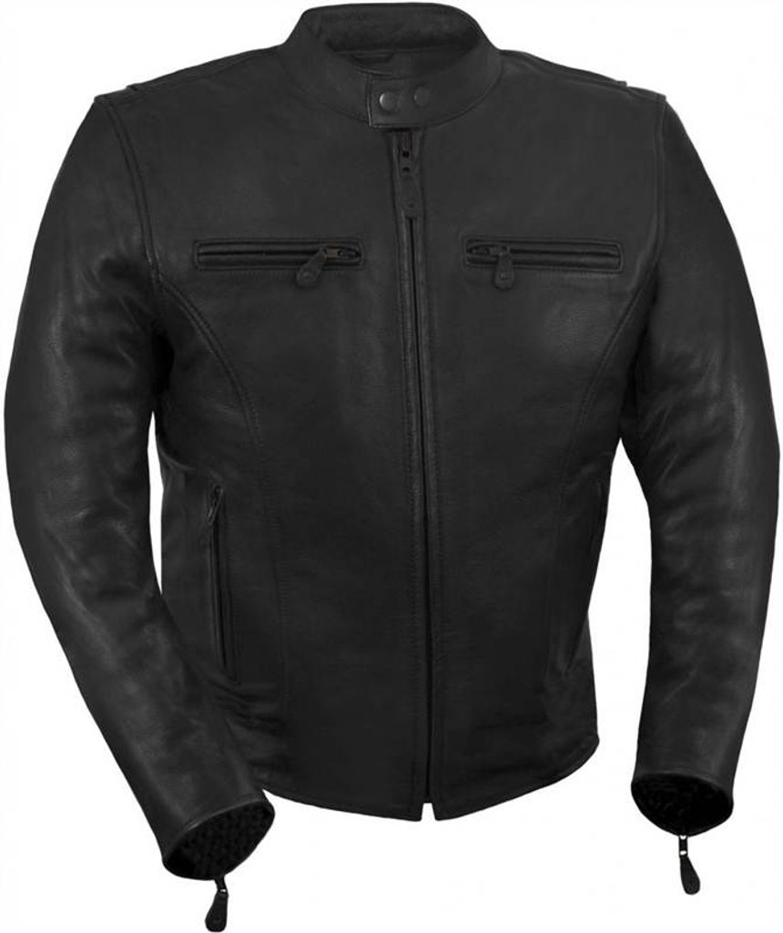 True Element Mens Light Weight, Vented Scooter Collar Leather Motorcycle Jacket (Black, Sizes S-5XL)