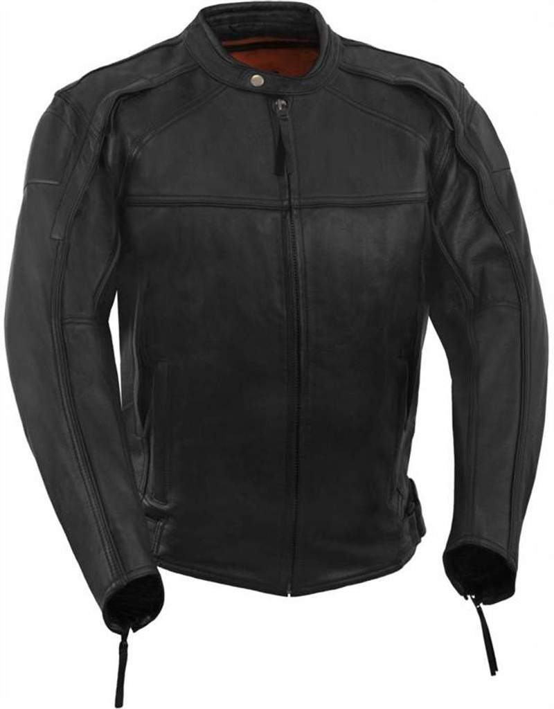 True Element Mens Vented, Hi Night Visible, Scooter Collar Leather Motorcycle Jacket (Black, Sizes S-5XL)