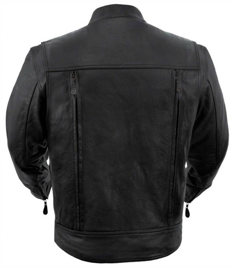 True Element Mens Vented Scooter Collar Leather Motorcycle Jacket with 2 Utility Storage Pockets (Black, Sizes S-5XL)