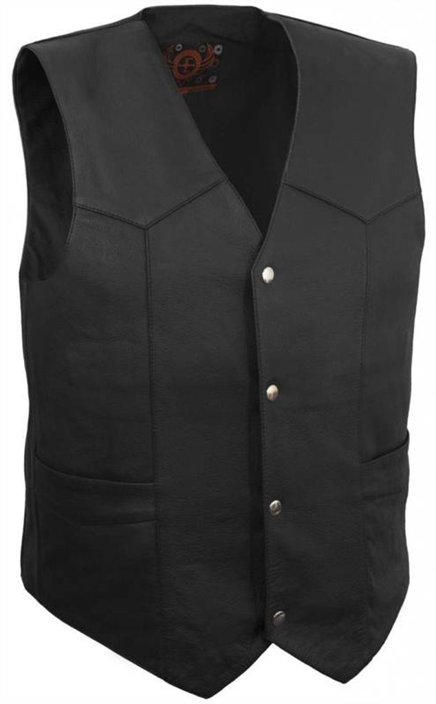 True Element Mens Classic Leather Motorcycle Vest (Black, Sizes S-5XL)