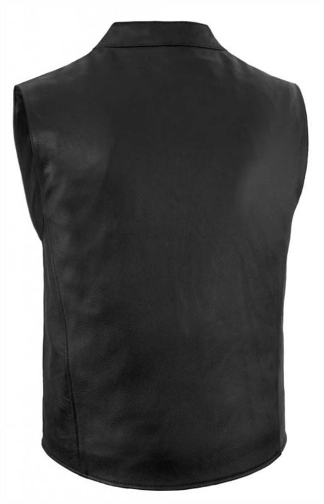 True Element Mens Zip Front, Single Back Panel, Scooter Collar Leather Motorcycle Vest (Black, Sizes S-5XL)