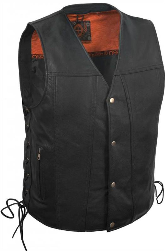 True Element Mens Single Back Panel Leather Motorcycle Vest with Side Lace Adjustment (Black, Sizes S-5XL)