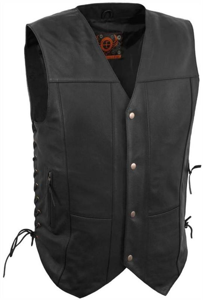 True Element Mens 10 Pocket Traditional Motorcycle Leather Vest (Black, Sizes S-5XL)