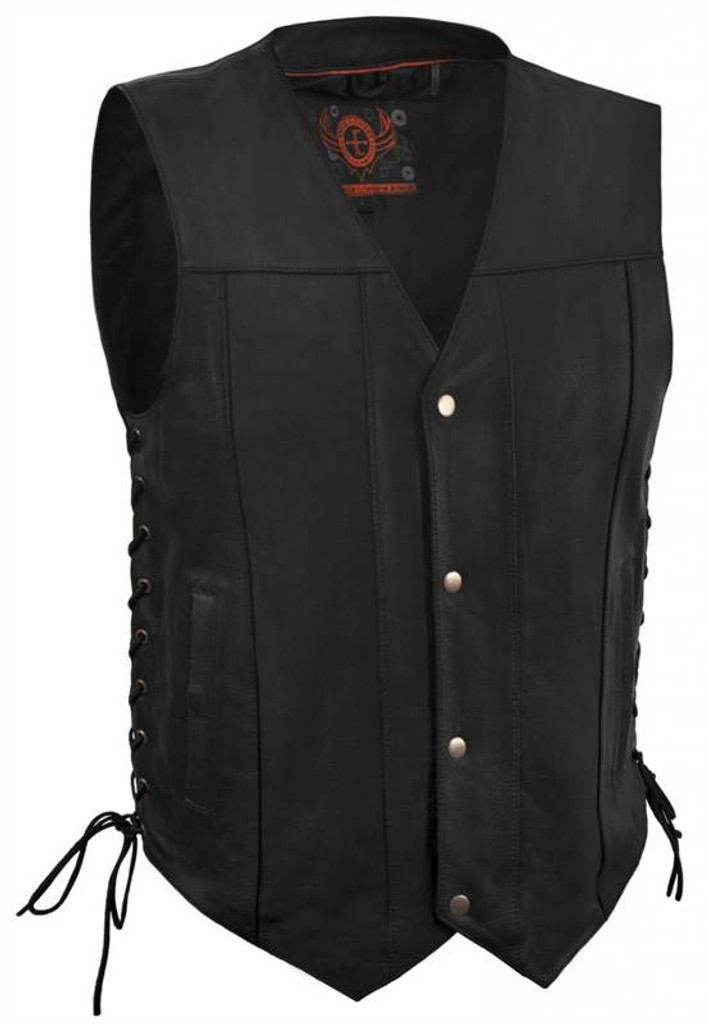 True Element Mens Side Laces Leather Motorcycle Vest with Concealed Carry Pocket (Black, Sizes S-5XL)