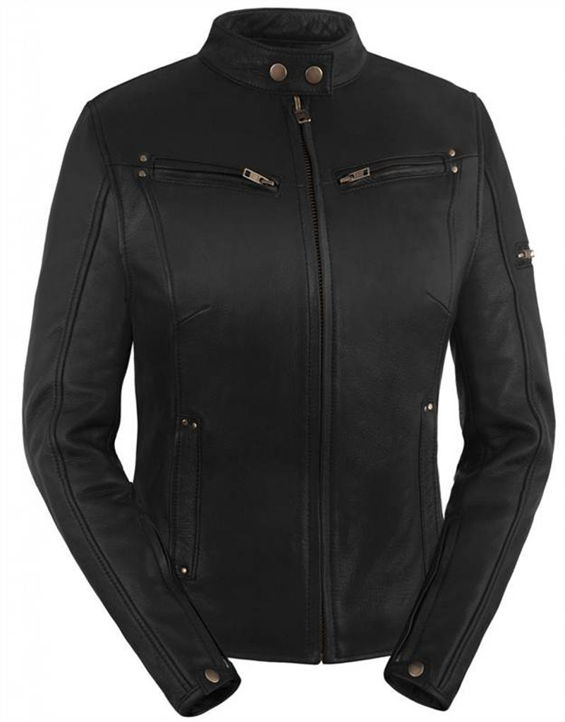 True Element Womens Sleek Vented Scooter Collar Leather Motorcycle Jacket (Black, Sizes XS-3XL)