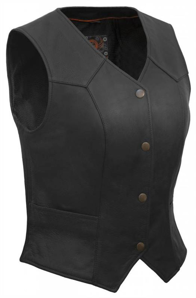 True Element Womens Classic Motorcycle Leather Vest (Black, Sizes XS-3XL)