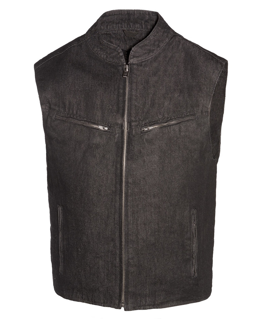 True Element Mens Scooter Collar  Club Style Denim Vest with Concealed Carry Pockets ( Size S- XL)