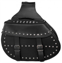 True Element TEBU44004BCL Studded Motorcycle Leather Saddle Bag with Quick Release Clips