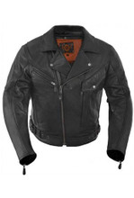 True Element Mens Premium Motorcycle Leather Jacket with Removable CE Standard Armor (Black, Sizes S-5XL)