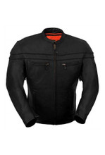 True Element Mens Sporty Scooter Style Collar Leather Motorcycle Jacket (Black, Sizes S-5XL)
