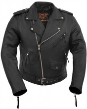 True Element Mens Basic Scooter Collar Leather Motorcycle Jacket (Black, Sizes S-5XL)