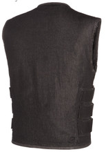 True Element Mens Black Denim SWAT style Vest with Adjustable Side Straps (Size S-5XL)