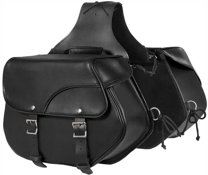 True Element TEBU44002BCL Classical Motorcycle Leather Saddle Bag with Quick Release Clips