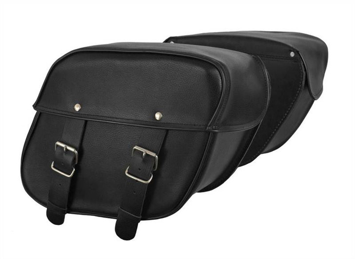 True Element TEBU66001BCL Motorcycle Leather Mountable side Bag with Quick Release Clips